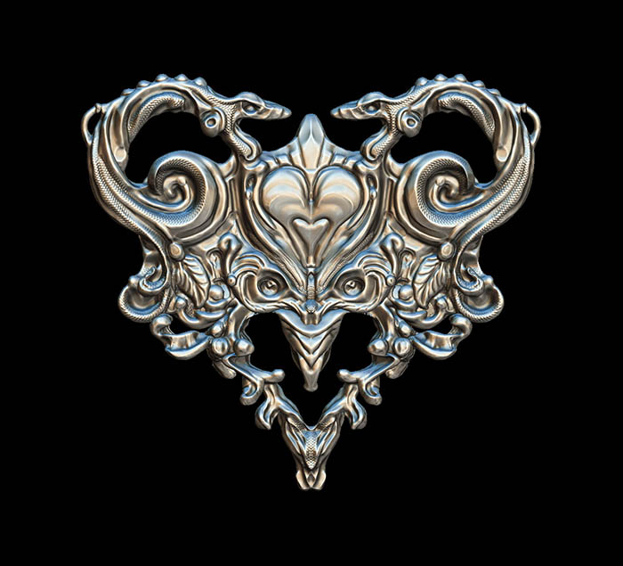 Zbrush 3d sculpted heart pendant with snakes
